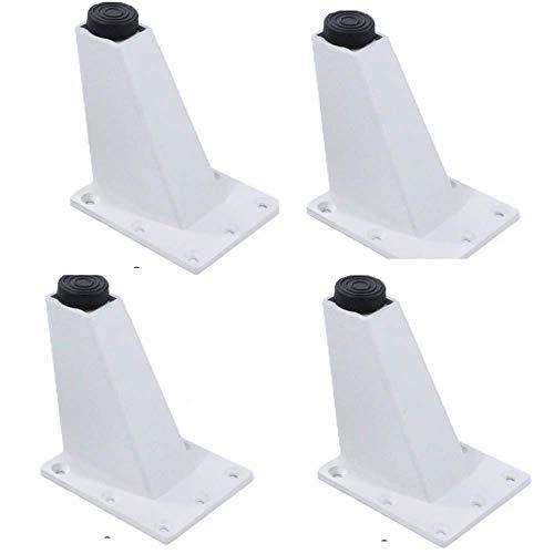 CHP Muebles patas de muebles de aleación de aluminio patas de gabinete de patas de sofá ajustables patas de soporte de zapato gabinete de TV patas 4 patas puede soportar peso 200 kg, blanco