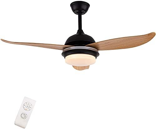 Ventilatore da soffitto in legno con luci dimmerabile LED in legno Fan Blade Noiseless Reversibile Motore Telecomando 3 Colori Cambiare per Soggiorno,