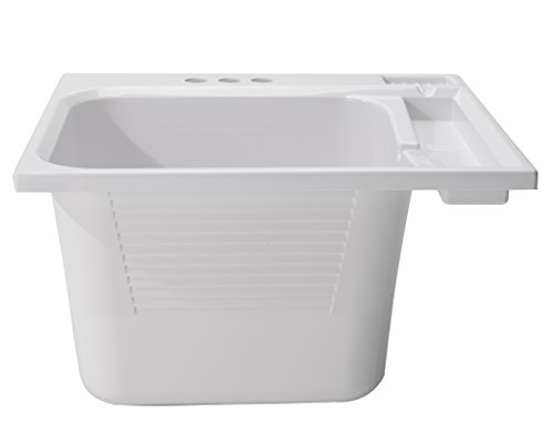 CASHEL Drop-In Sink - Fully Loaded Sink Kit, White, Utility and Laundry Sink, 1970-33-01