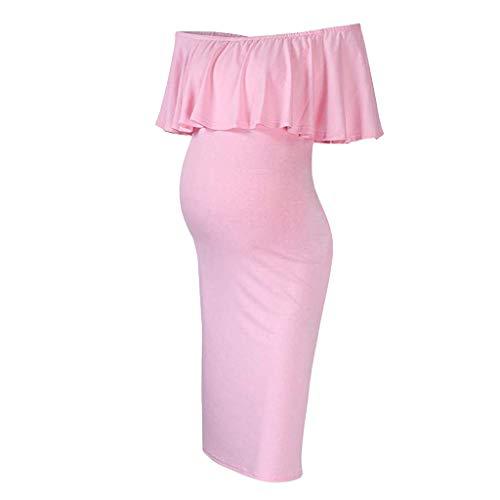 Frauen Schwangere Kleider, Schulterfrei Umstandskleid Damen Rüschen Stillkleid Sommer Casual Sexy Kurzarm Midi Kleid Kostüm Umstandsmode Strandkleid