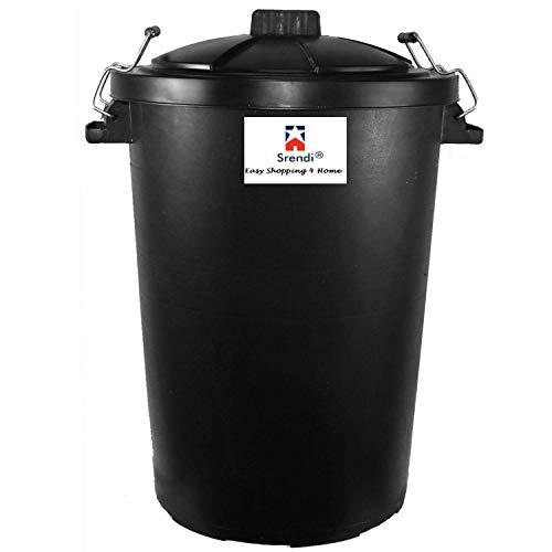Srendi Large 85L Litre Black Metal Handles Plastic Bin Rubbish Waste Dustbin Animal Feed Storage Unit Garden Indoor Outdoor Bin