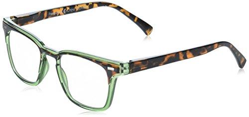 Peepers by PeeperSpecs Strut Square Reading Glasses, Green/Tortoise-Focus Blue Light Filtering Lenses, 48 mm + 1.25