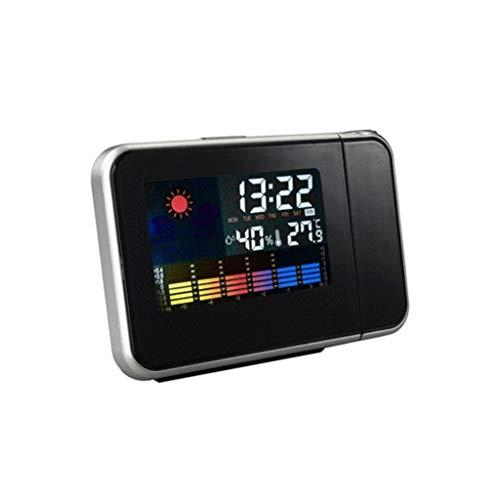ffshop Relojes meteorológicos LED Reloj electrónico: pronóstico del Tiempo de proyección de Reloj de Alarma de Reloj de Color de la Pantalla del Reloj