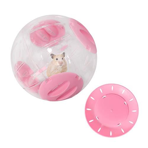 Andiker Bola de hámster transparente para hámsters y ratones, juguete de plástico para eliminar el aburrimiento y aumentar la actividad, rueda de hámster (20 cm, rosa)