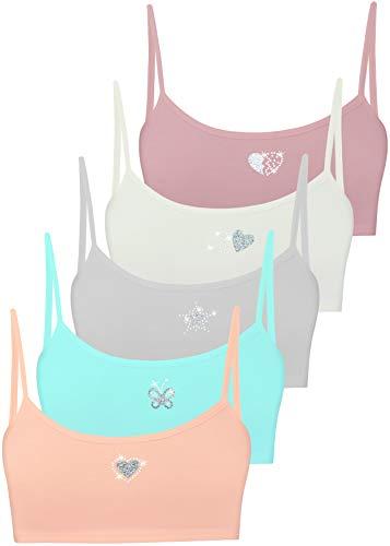LOREZA ® Top Interior para niña - Sujetador Deportivo Infantil con cristalitos y Purpurina - Algodón - Modelo 2 - Pack de 5-12-13 años