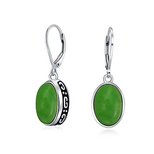 Bali-Stil 3,2Ct Gefärbt Quarz Simuliert Grün Jade Farbe Edelstein Oval Lünette Einstellen Leverback Baumeln Ohrringe Für Frauen 925 Sterling Silber