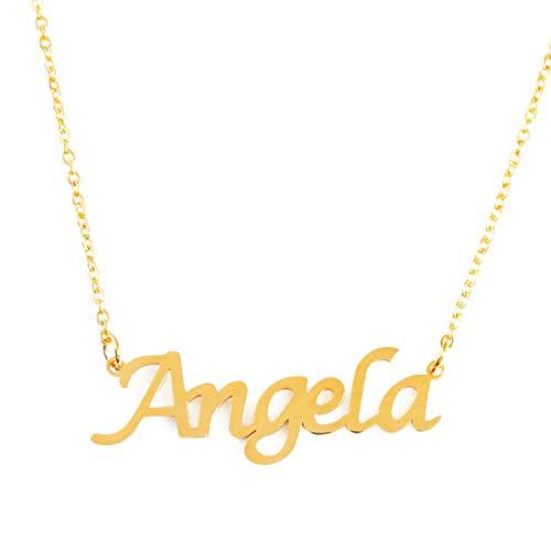 Kigu Angela Collar con Nombre - Chapado en Oro Personalizado de 18 Quilates - Cadena Ajustable