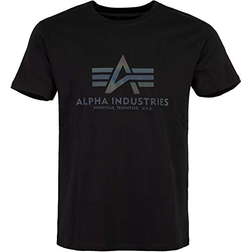 ALPHA INDUSTRIES Basic Logo T-Shirt Logo Shirt (L, Rainbow Black)