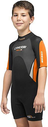 Cressi Med X Jr Wetsuit 2.5 mm Traje de Neopreno Corto para Niños, Unisex-Youth, Negro/Naraja/Gris Claro, XL (Años 14/15)