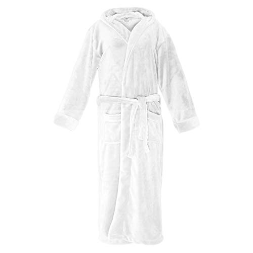 Lumaland Luxury Mikrofaser Bademantel mit Kapuze für Damen und Herren in verschiedenen Größen und Farben Weiß M