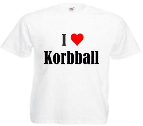 Camiseta I Love Korbball para mujer, hombre y niños en los colores negro, blanco y rosa Blanco 6 años