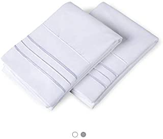 BALICHUN Pillow Cases 300 Thread Count 100% Long Staple Cotton Pillowcases Set of 2 Ultra Soft Luxury Hotel Quality (Pure Cotton Grey, Standard-2 Pack) (White, Standard)