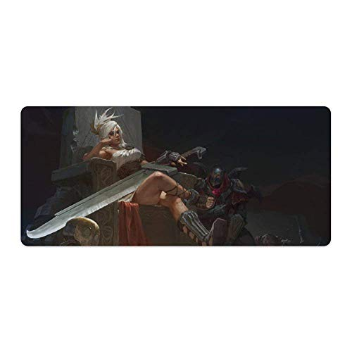 Tttyy Mouse pad Leagues-of-Legends,Riven (11),Extended Large Gaming Mouse Mat,Desk Mat,Waterproof Anti-Dirty No-Slip Stitched Edges Mousepad,11.8x31.5Inch