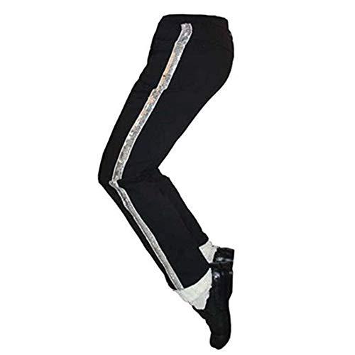 Shuanghao Pantalones de Michael Jackson Pantalones de Billie Pantalones de baile Cosplay Traje de Jackson (Nio (H: 150 CM W: 37-41Kg))