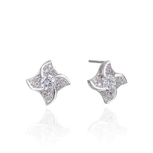 Pendientes de plata de ley 925 con adornos de diamantes finos, pendientes simples de moda, regalo de novia