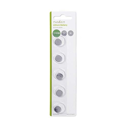 NEDIS Batteria a Bottone al Litio CR1220 Batteria a Bottone al Litio CR1220 | 3 V | 5 Pezzi | Blister Argento