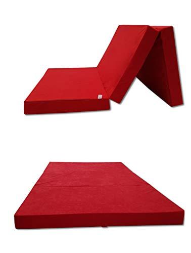 Odolplusz Colchón plegable – Fabricado en la UE – Se puede utilizar como colchón para invitados (rojo, 120 x 200 cm)