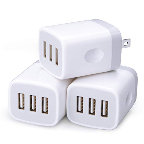 Wall Charger Adapter,USB Cubes,Sicodo 3Pack Universal Travel 3.1A 3 Muti Port Plug Charging Block Compatible with iPhone 12, X,8,7,Plus,Tablet,Samsung GalaxyS10,S9,S8 Plus,S7 S6 Edge,HTC,LG,Sony,Nokia