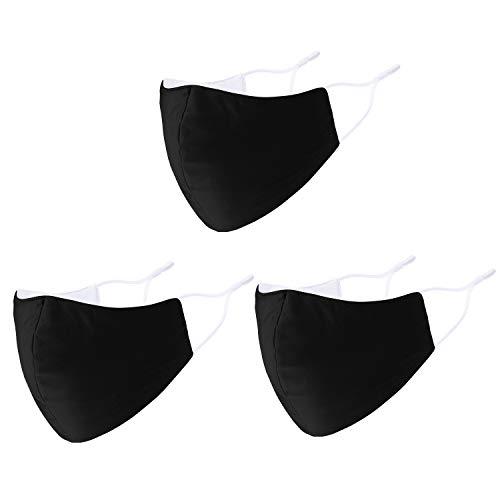 Black Face Mask Reusable 3 Pack Adjustable Ear Loops Cotton Cloth Washable Breathable Face Masks for women or men