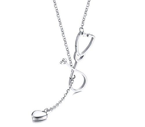 VNOX Diamante de Imitación I Love U Enfermera Doctor Medico Estetoscopio Collar Y Acero Inoxidable Plata 55.5cm