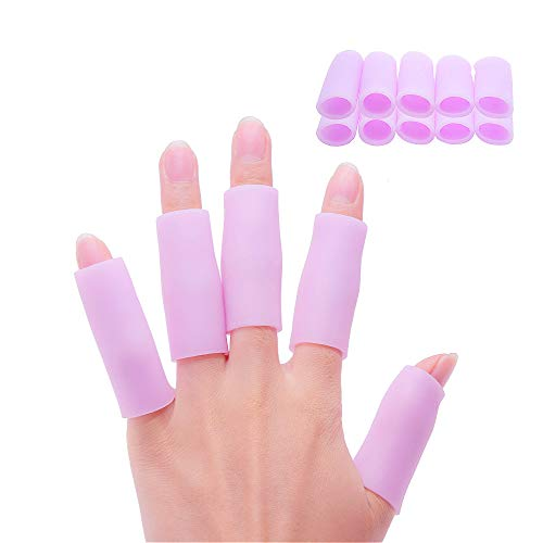 Povihome 10 Pack Finger Sleeve Protector Silicone Thumb Protector for Arthritis Basketball Mallet Finger Trigger Finger Corn Blister