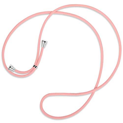 mtb more energy® Cuerda de Repuesto para Collar Smartphone - Rosa - Incluyendo Tapas Protectoras (Plata) - Cuerda de Intercambio Tirante Cadena Banda