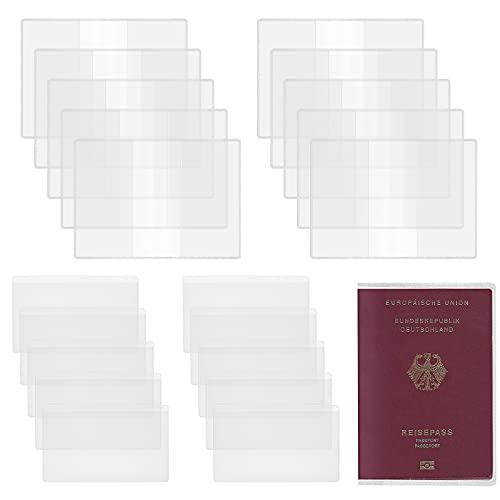 Fundas de Pasaporte Transparente SEELOK Funda de Plastico para Tarjetas Cubierta de PVC para Protector Pasaporte Viaje y Tarjeta de Credito (20 Piezas)