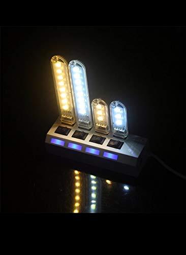 HOGAR Pack 2 Unidades 8LEDs 3LEDs Luces LED de Lectura USB Luz de Libro LED Luz Portatil LED USB Mini Lampara LED USB Luz de Noche LED Lampara LED 5V