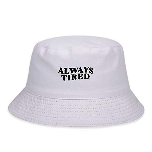 ZHENQIUFA Sombrero Pescador Gorras Sombrero De Pescador De Algodón De Moda Siempre Cansado Bordado Sombreros De Cubo Sombreros De Hip Hop Sombreros De Panamá Salvaje para Mujer-Blanco