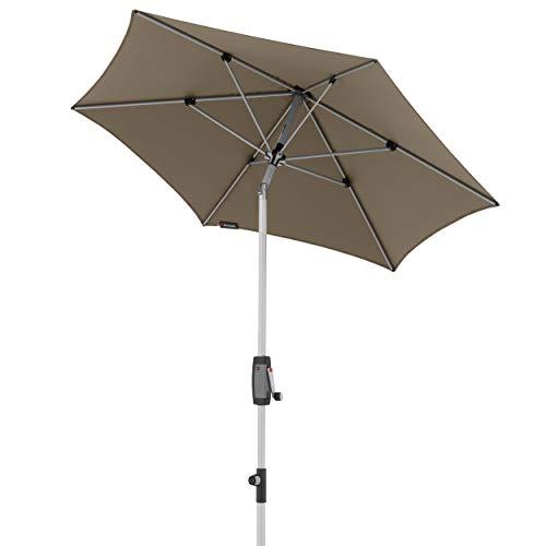 Knirps Sonnenschirm Automatic - Runder Kurbelschirm - Modernes Design - Starker UV-Schutz - 220 cm - Taupe