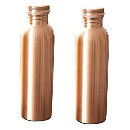 INDIAN COPPER WHOLESALER Bouteille d'eau en cuivre Pur pour Les avantages de santé ayurvédiques (Joint Free & Preuve d'étanchéité) (900 ML, Plaine) Set DE 2 PIÈCES