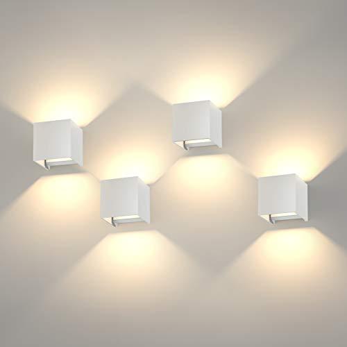 K-Bright 4 pack 12W LED Applique da Parete su e gi¨´ regolabili, Angolo di Emissione Regolabile Design IP65,Lampada in Gesso Bianco Caldo per Soggiorno Camera da letto Balcone, Bianco