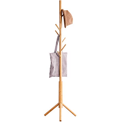 Bamboo Free Standing Coat Rack Stand Adjustable Coat Tree with 3 Sections 8 Hooks Easy to Assemble Coat Hanger Stand for Bedroom Office Hallway Entryway Bedroom Natural Be Made Of Bamboo and Poplar Wood