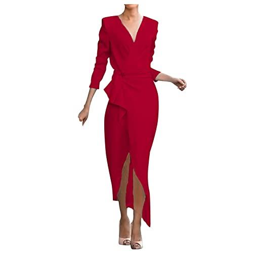 Briskorry Damen V-Ausschnitt Cocktailkleid mit Seiten Schlitz Einfarbig Mittelhohe Langärmeliges Volant Kleid mit unregelmäßigem Saum Partykleid Freizeit Kleid