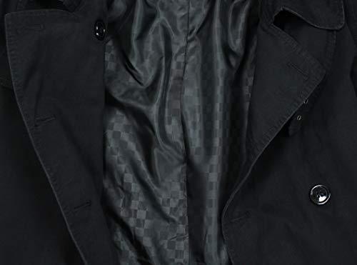 AK collezioni Giubbotto Trench Uomo Casual Nero Giacca Lunga Doppiopetto Impermeabile (m)