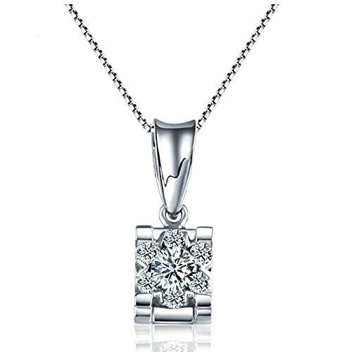 KnSam Collar para mujer de oro auténtico de 18 quilates, oro blanco 750, con diamante blanco de 0,2 ct