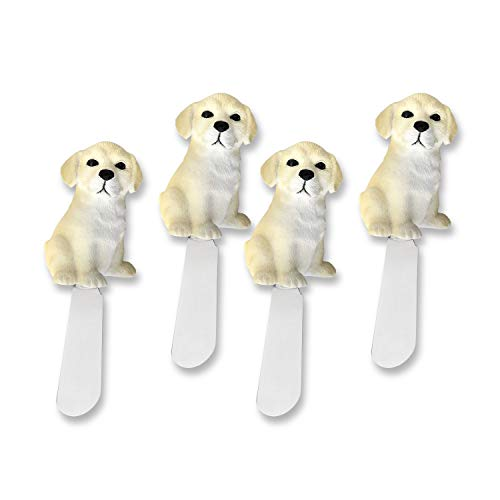 Mr. Spreader 4-Piece Labrador Retriever Dog Hand Painted Resin Handle with Stainless Steel Blade Cheese Spreader