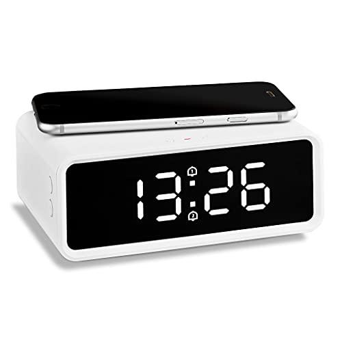 ADE CK2010 induktives Laden QI Smartphone, Dual-Alarm, Uhrzeit, Temperaturanzeige, Digitale Wecker mit Netzteil, LCD Display, Einheitsgröße