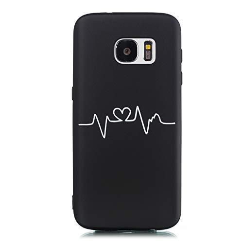 Ulife Mall Funda para Samsung Galaxy S7 Cárcasa de Silicona Suave Con Patrón de Dibujos Blanco y Negro Ultrafina Antigolpes Mate TPU Goma Bumper Anti-Rasguño Resistente Cover Protección, Curva corazón