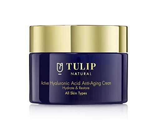 Crema ialuronica anti-età per idratare e ripristinare - Lozione viso all'acido ialuronico con vitamine A, C, E previene rughe e pieghe della pelle - Idratante anti-età ad azione rapida di Tulip Natural, 1.7oz