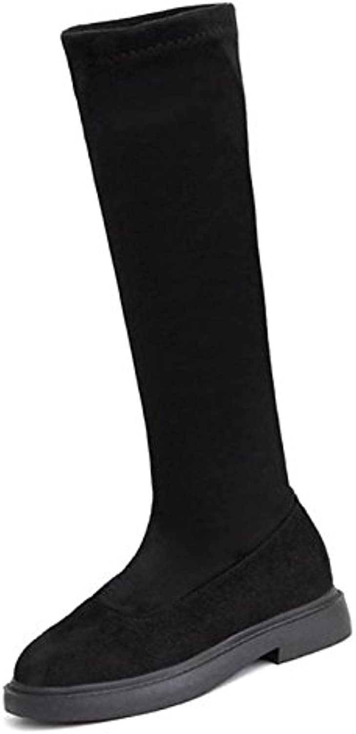 HSXZ Women's shoes Nubuck leather PU Winter Fall Comfort Boots Chunky Heel Round Toe MidCalf Boots for Casual Black