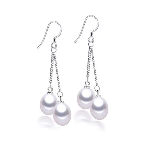 Marcia Abbot(t) Fashion Silver 925 Long Earrings For Women Elegant High Luster Real Natural Freshwater Pearl Drop Earrings Wedding,All white pearl