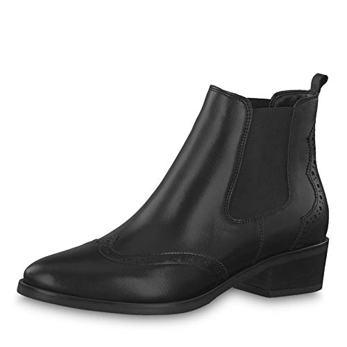 Tamaris Damen Stiefeletten 25931-33, Frauen Chelsea Boots, leger Stiefel halbstiefel Stiefelette Bootie Schlupfstiefel hoch Damen,Black,38 EU / 5 UK