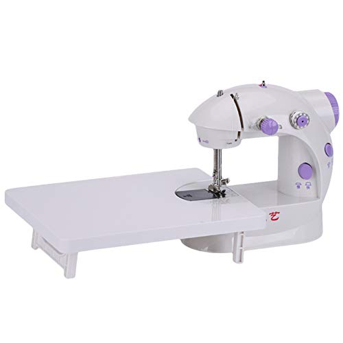 belupai Mini Electric Handheld Sewing Machine Dual Speed Adjustment with LED Light Foot Double Threads Pedal Sewing Machine