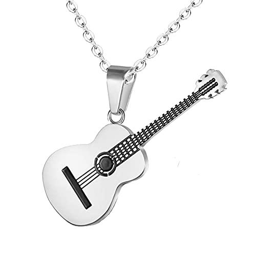Yifnny Gitarre Halskette, Herren Edelstahl Rock E-Gitarre Bass Anhänger Halskette Gitarren Plektrum Halskette mit Rolo Kette Hip Hop Musik Stil Personalisiertes Geschenk für Männer Frauen (Silber)