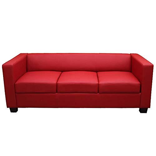 Mendler 3er Sofa Couch Loungesofa Lille - Leder, rot