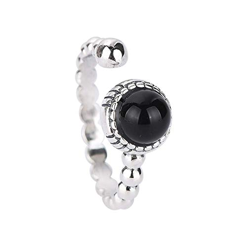 S925 sterling zilveren ring zwarte onyx antieke ring dames gepersonaliseerde open zilveren ring ring geschikt als cadeau voor vrouw