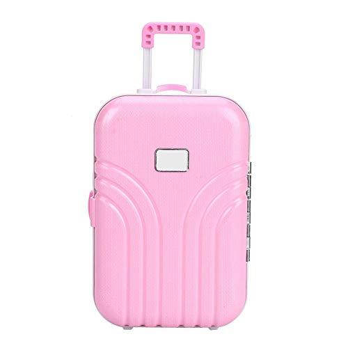 Zerodis- Toy Suitcase Baby Suitcase Toy Cute Plastic Rolling Suitcase Mini Caja de Equipaje para niños Baby Girls Children 6.1 * 4.1 * 2.8 Pulgadas(Rosado)