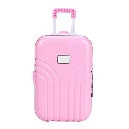 Toy Suitcase Baby Suitcase Toy Cute Plastic Rolling Suitcase Mini Luggage Box for Kids Baby Girls Children 6.1 * 4.1 * 2.8inch(Pink)