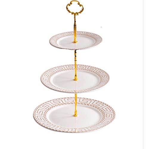 Placa de fruta de tres niveles de estilo europeo creativo de pastel de pastel de pastel de postre plato de caramelo Tiempo dulce para la fiesta de té de la tarde